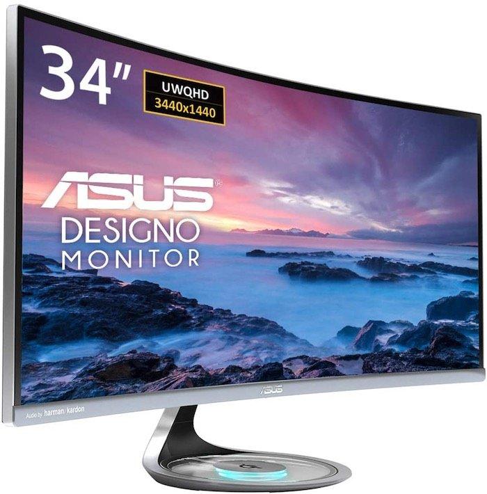 "ASUS Designo Curved MX34VQ 34"" UQHD 100Hz DP HDMI Eye Care Monitor"
